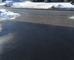 Our parking lot after treating with AquaSalina
